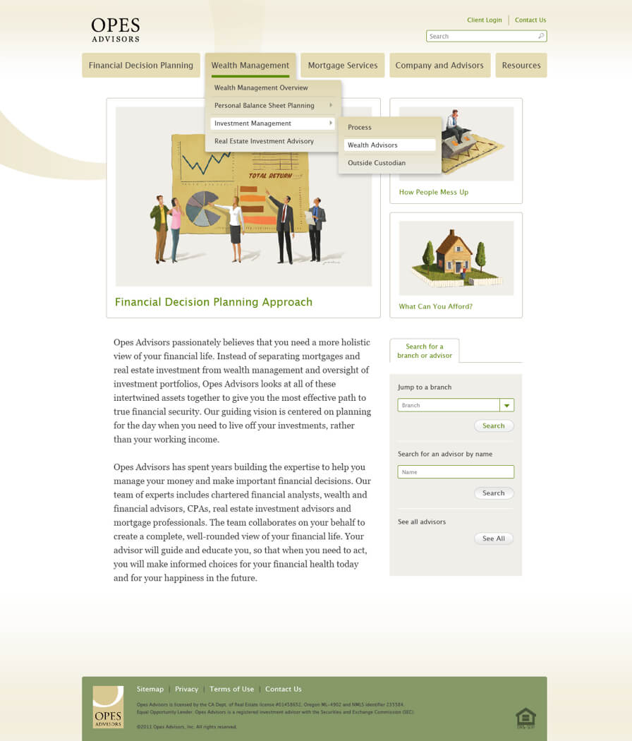 Opes Advisors website with dropdown menus and 3 illustrations