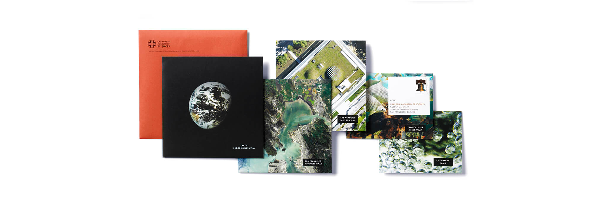 Image cards of earth and Academy of Sciences with orange envelope