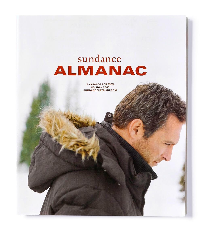 Sundance Almanac catalog cover showing man in hooded winter coat