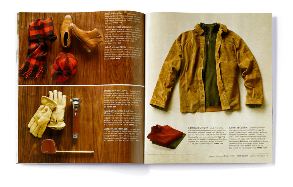Open catalog spread showing cold-weather outerwear