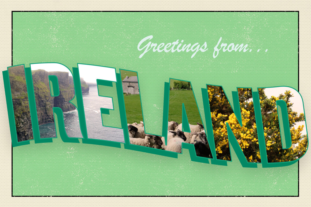 Greetings from Ireland green postcard