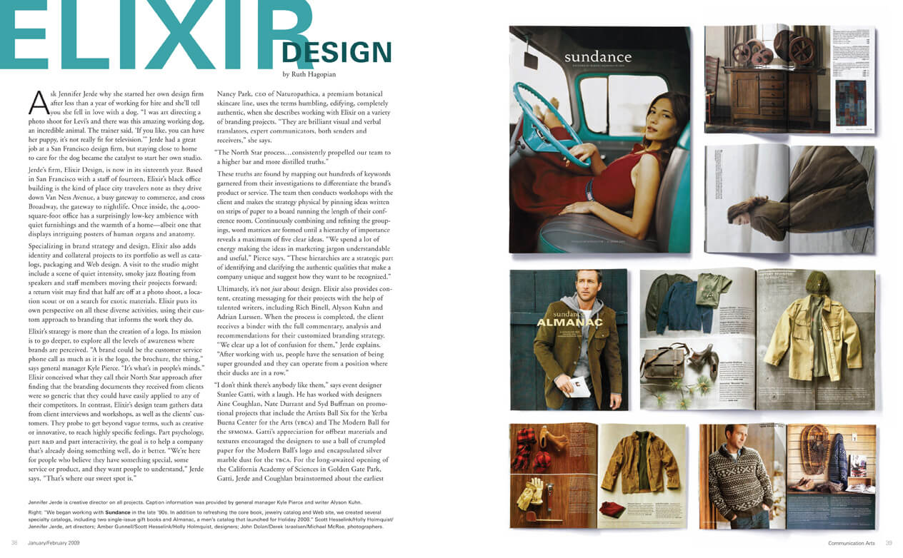 Communications Arts spread featuring article and images of Sundance catalogs