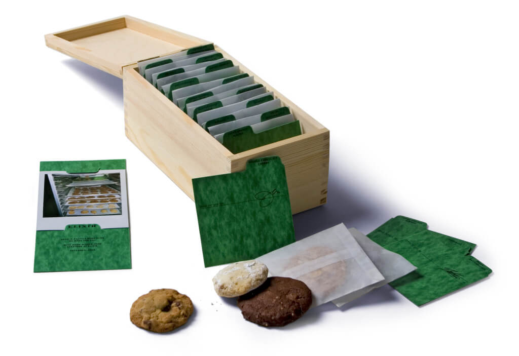 Wooden cookie file box with green separators