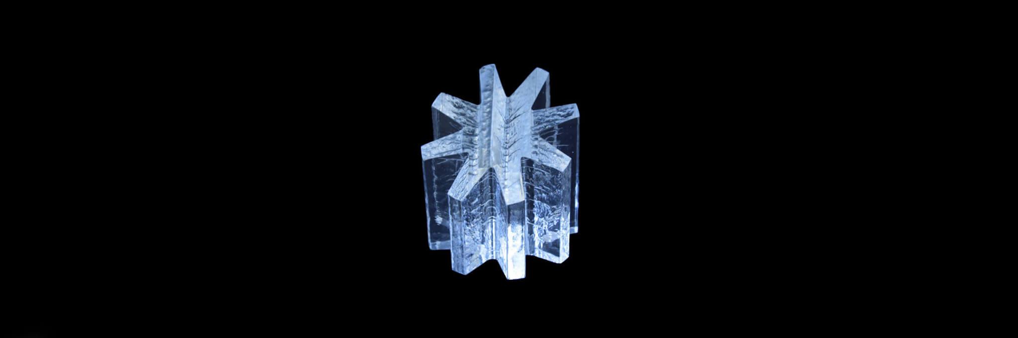 3D glass 8-pointed asterisk award sculpture