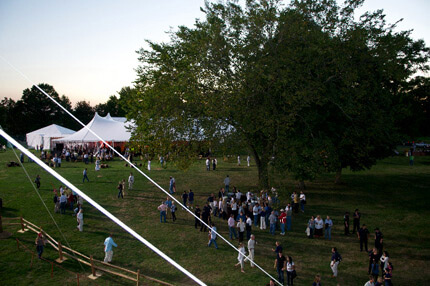 People in a field with large tree and white event tents in the background