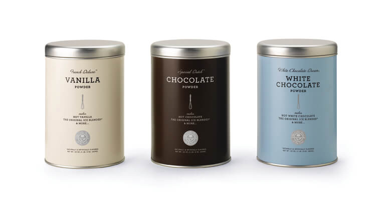 3 tins: Off-white Vanilla, brown Chocolate, light blue White Chocolate