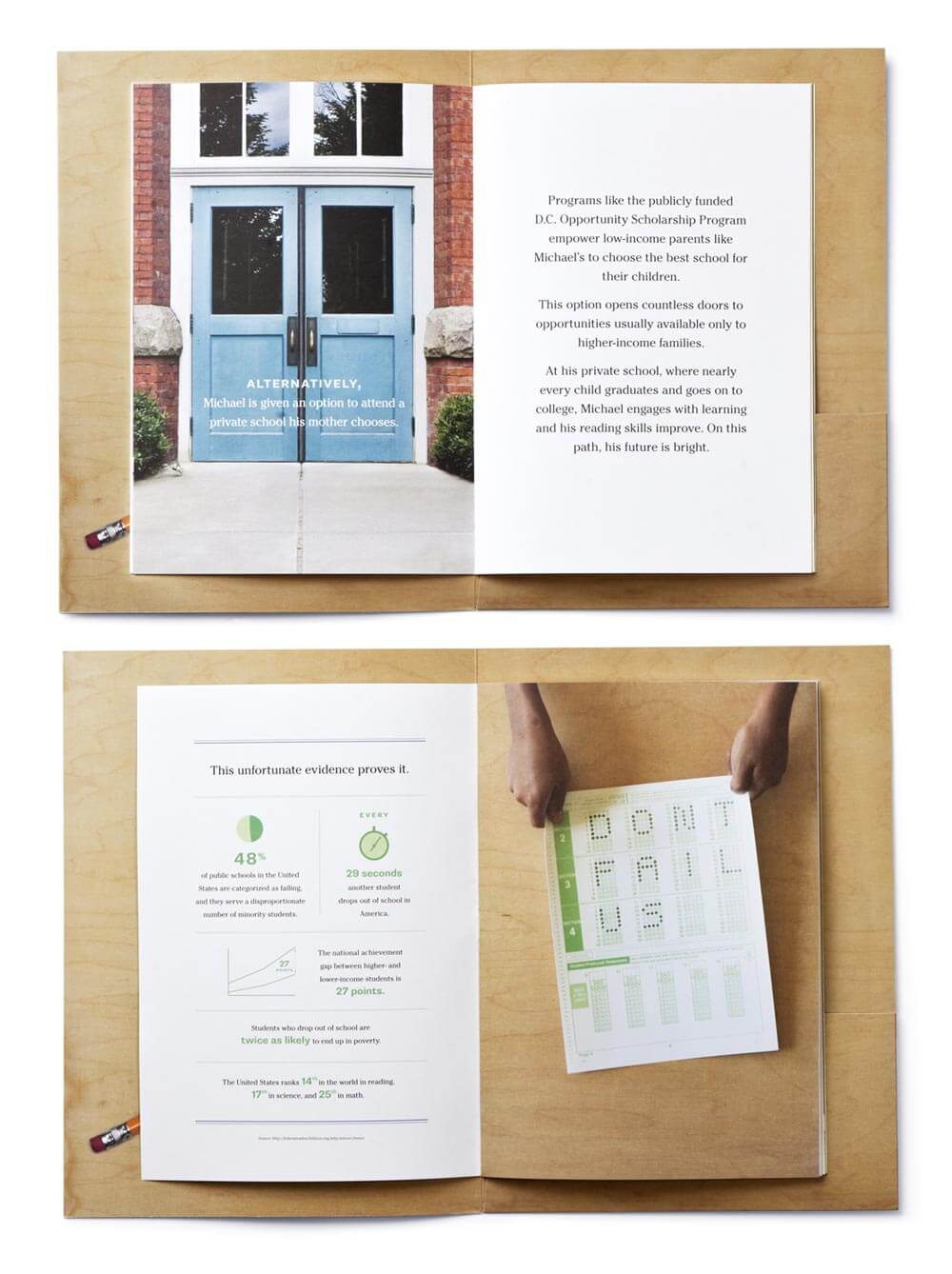 2 open spreads of booklet showing blue doors, infographics, and scantron sheet