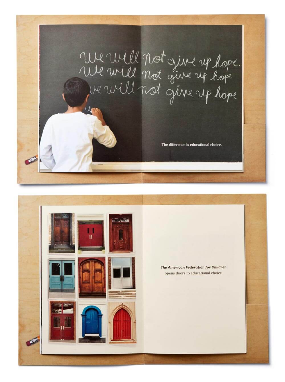 2 open spreads of booklet showing child at blackboard and various doors