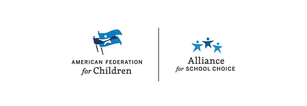 American Federation for Children flag logo and Alliance for School Choice star children logo