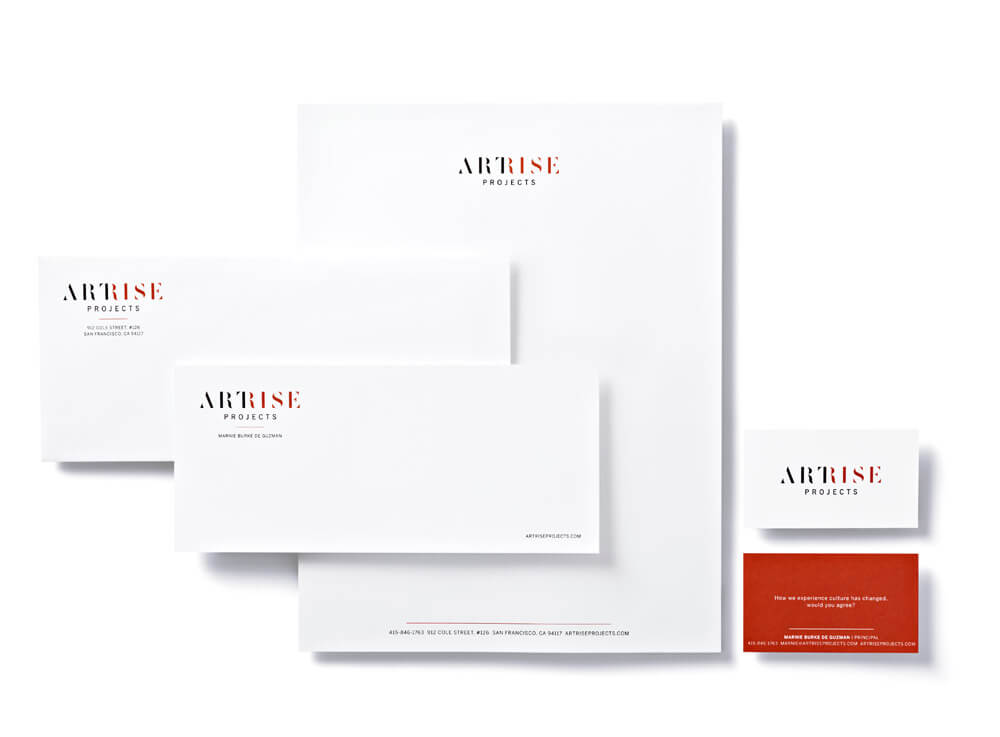 Stationery with black and red Artrise logo