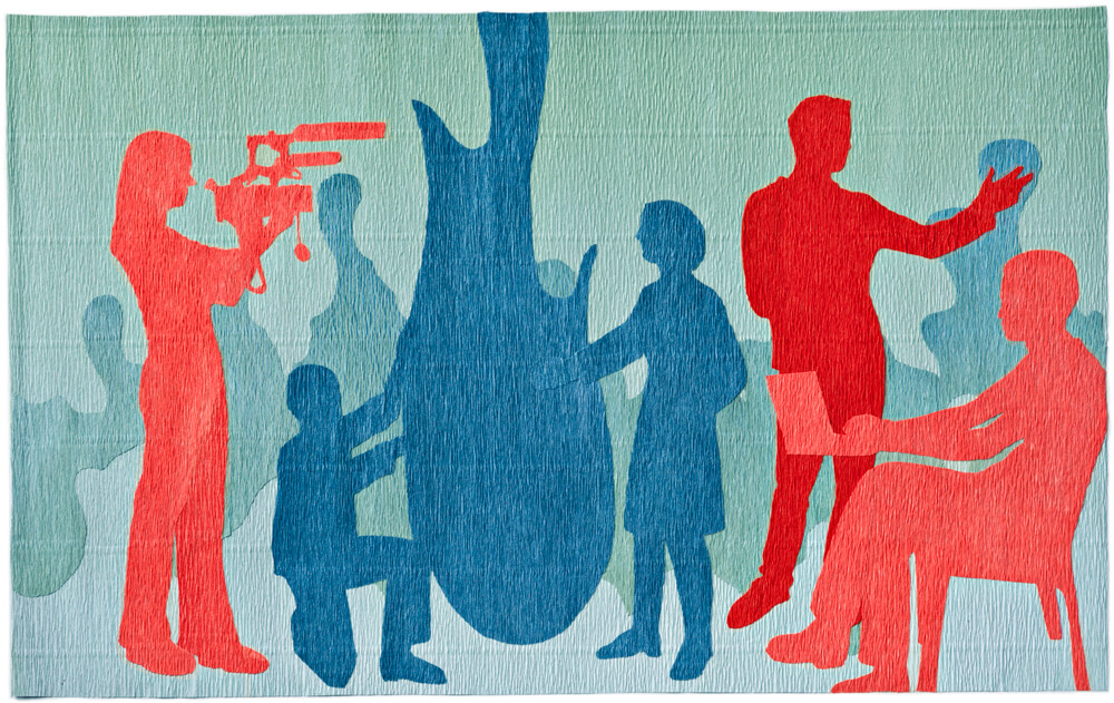 Silhouettes of people made out of red, blue, and green crepe paper