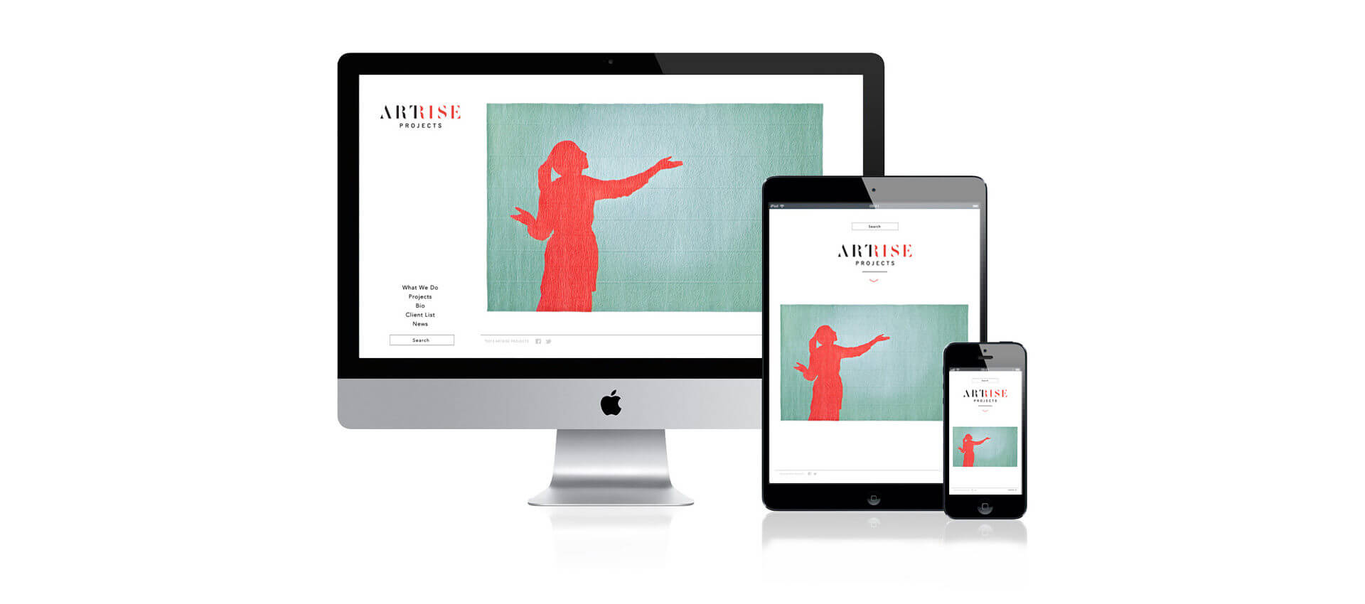 Artrise homepage with red figure silhouette shown on desktop, tablet, and phone