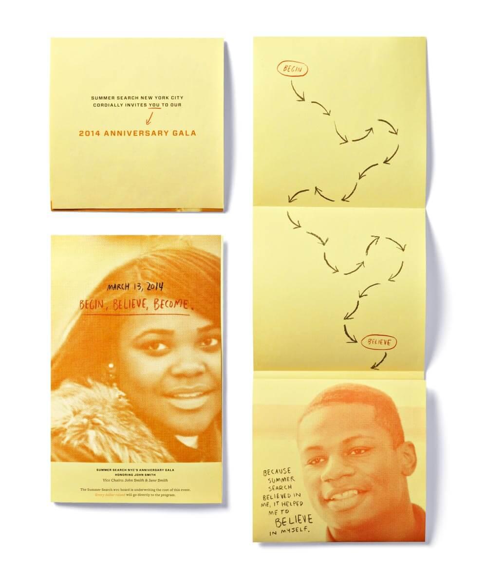 3 yellow print pieces with 2 orange monotone student images