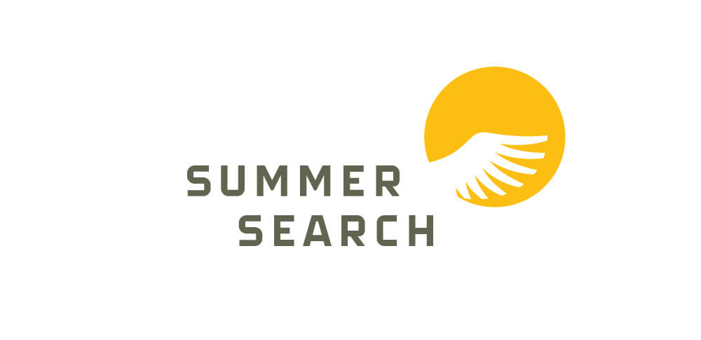 Sumer Search logotype with yellow wing-in-sun logo mark