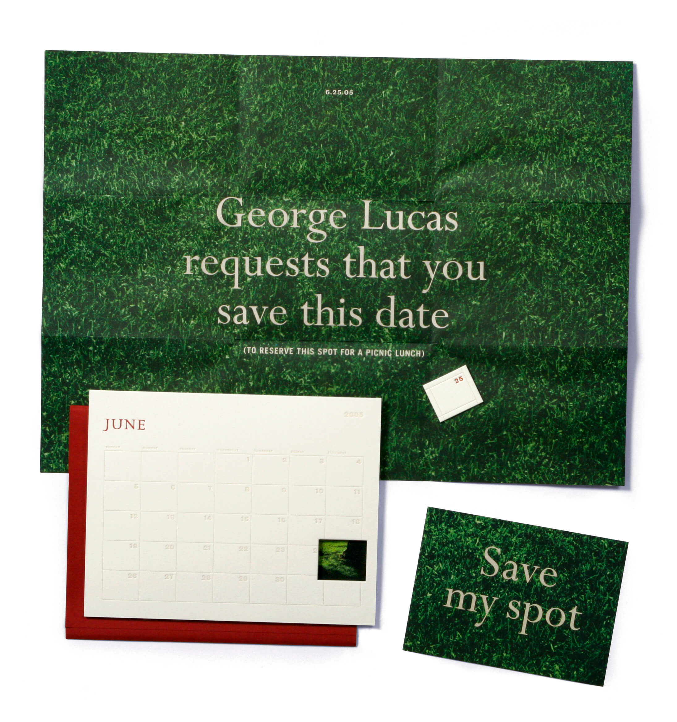 George Lucas green grass invitation with June calendar and red envelope