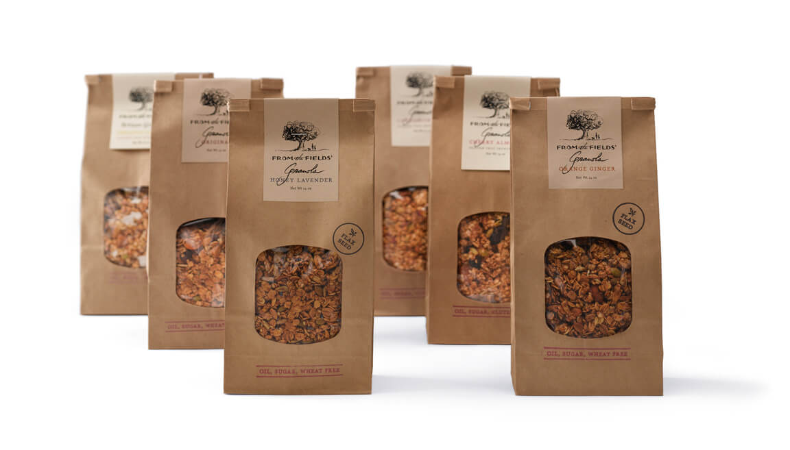 6 brown-kraft bags of From the Fields' granola