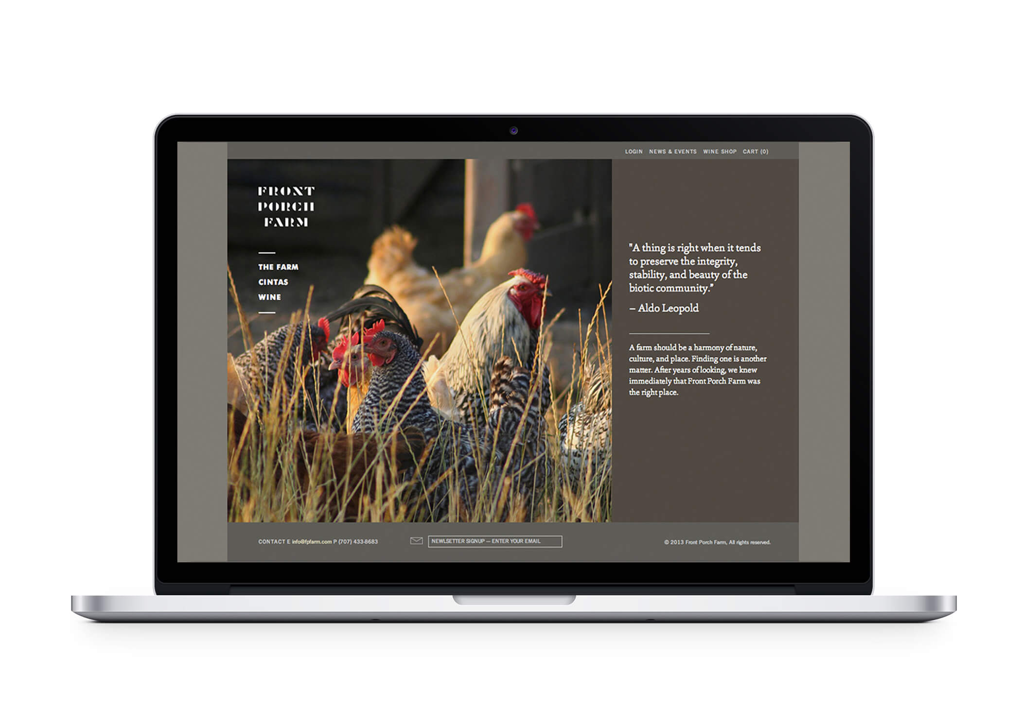 Front Porch Farm webpage on laptop featuring chickens and text