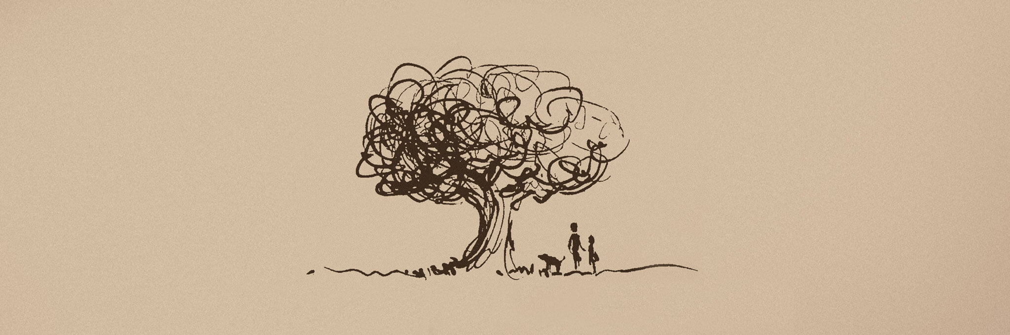 Pen illustration of tree with adult, child, and dog on light brown background