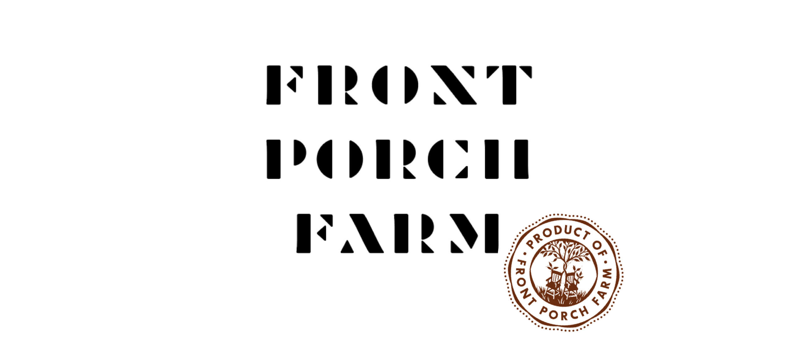 Front Port Farm logotype with rocking-chairs-seal logo mark