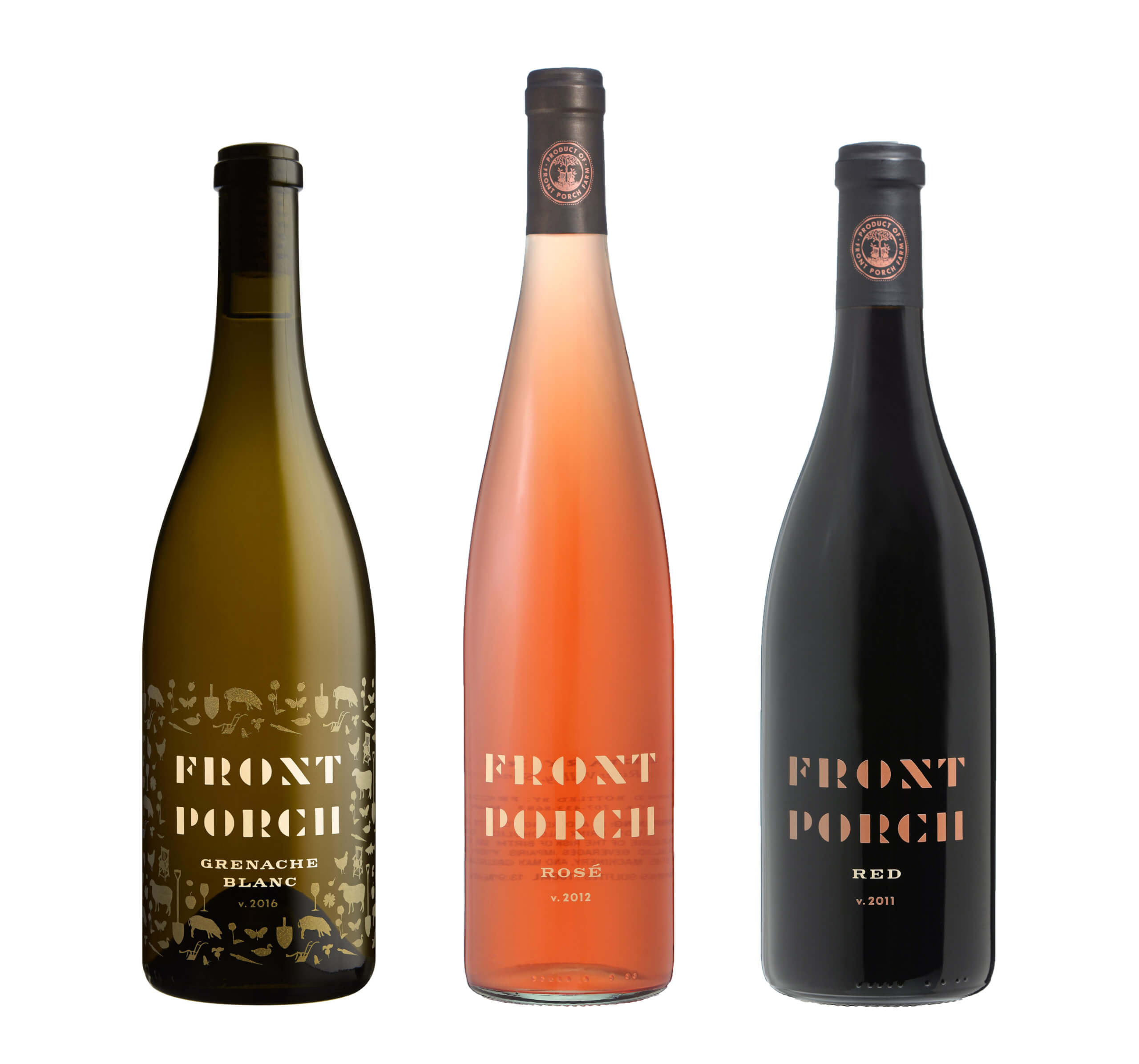 Green, rose, and black colored Front Porch Farm bottles
