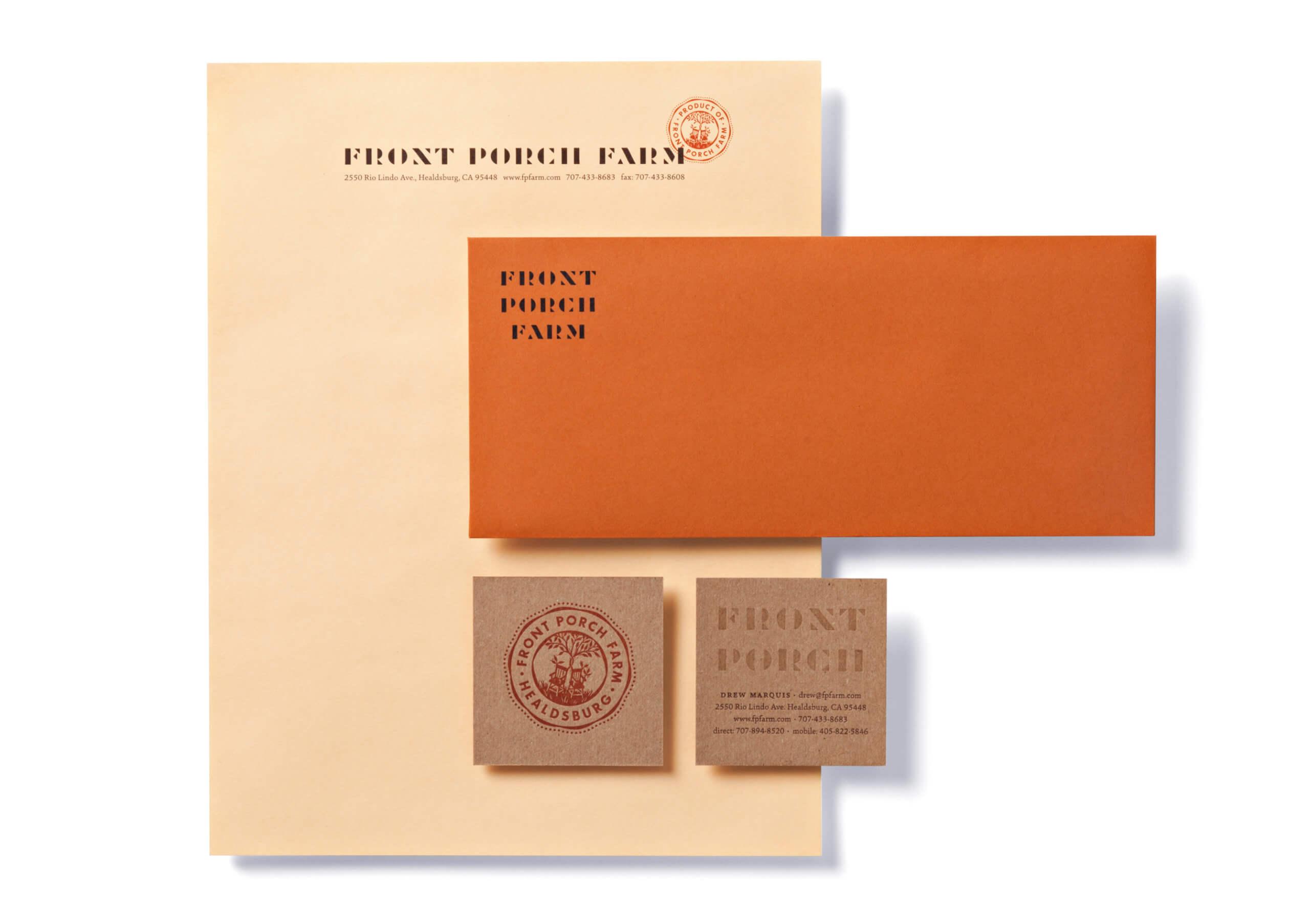 Front Porch Farm peach-colored letterhead, orange envelope, brown kraft square business cards