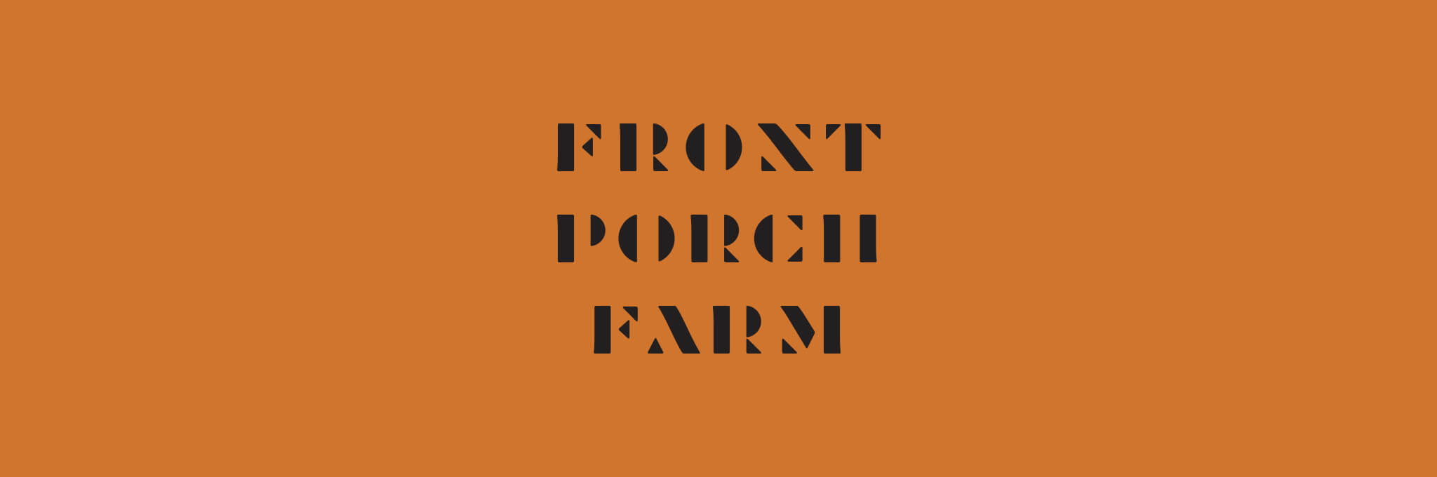Black, stencil-style Front Port Farm logo on orange background