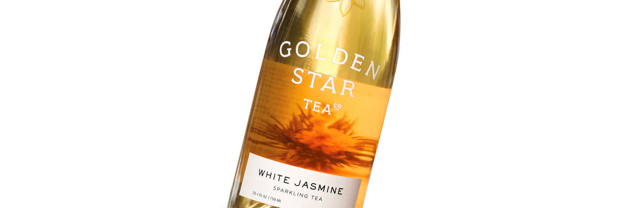 Cropped glass bottle of Golden Star Tea White Jasmine