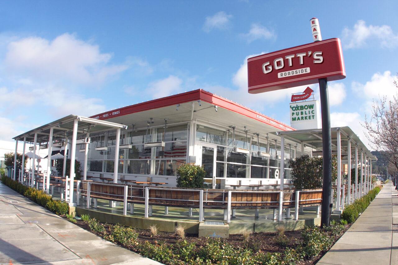 Fisheye photo of Gott's restaurant and signage