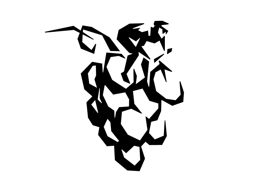 Abstract cyclist and grapes logo
