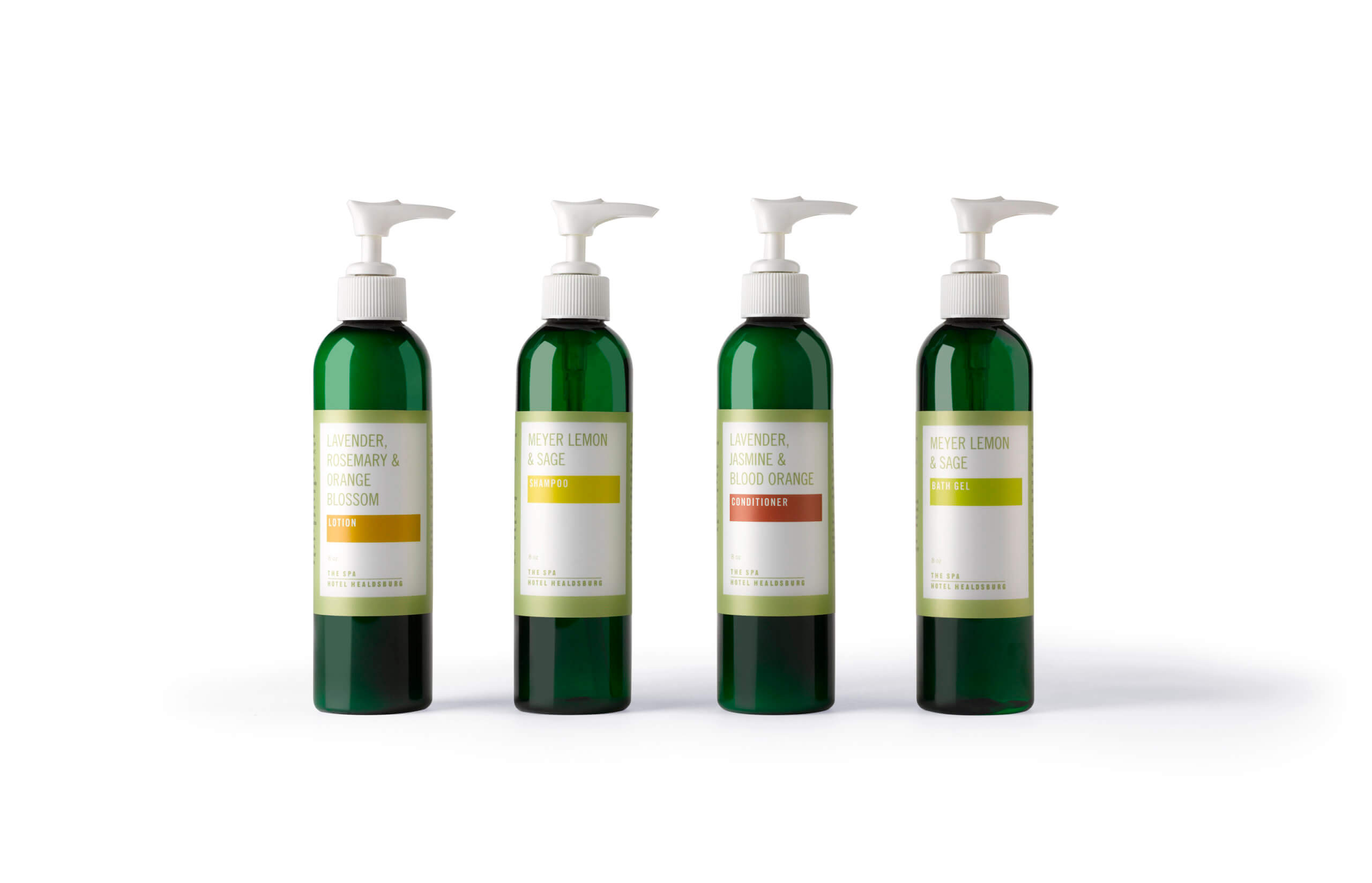 4 green bottles with white pumps and color block labels