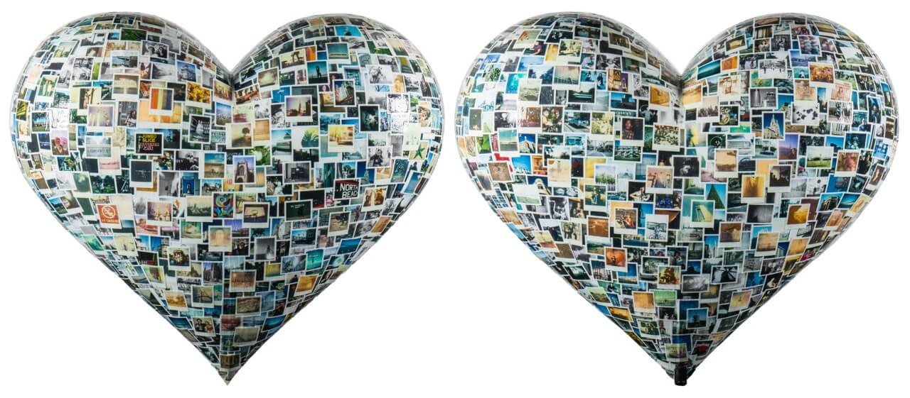 Front and back of polaroid-covered heart sculpture