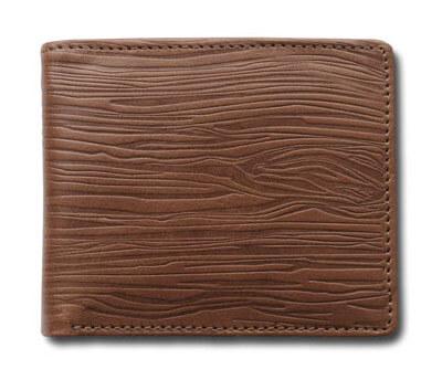 Brown woodgrain texture folded wallet