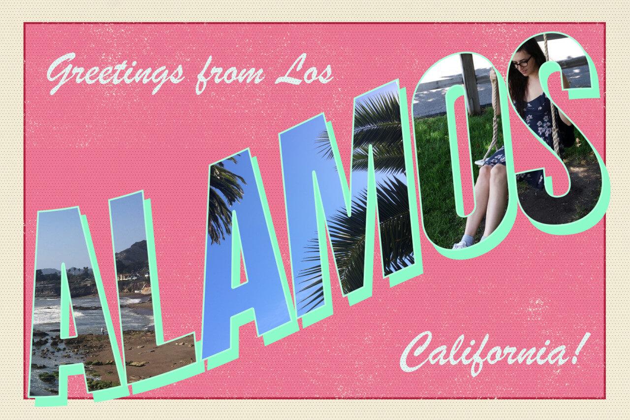 Greetings from Los Alamos California coral pink postcard