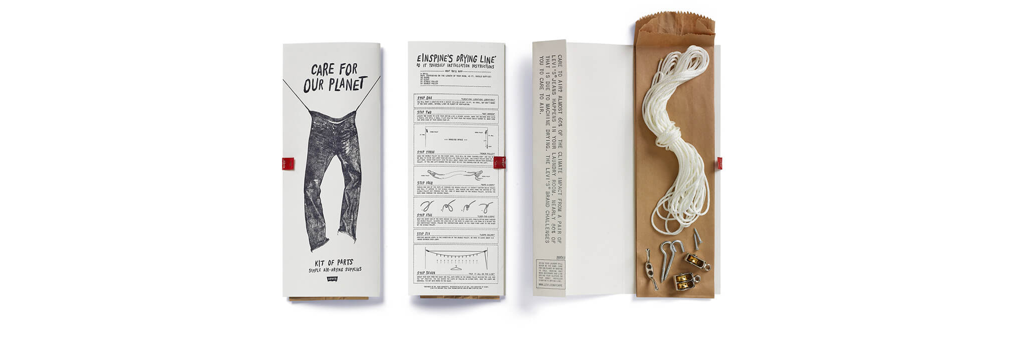 Drying line kit of printed directions and brown bag containing string, nails, and hooks
