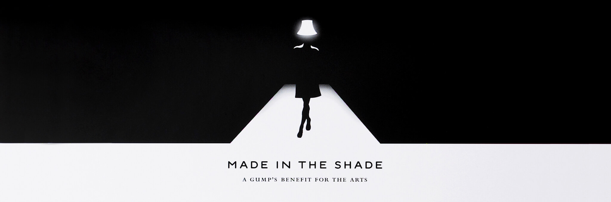 Black and white Made in the Shade invitation of person wearing lampshade