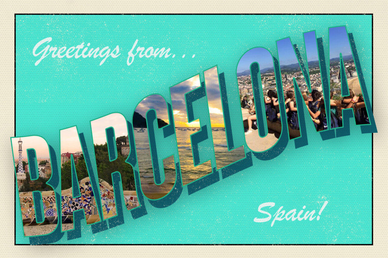 Greetings from Barcelona Spain turquoise postcard