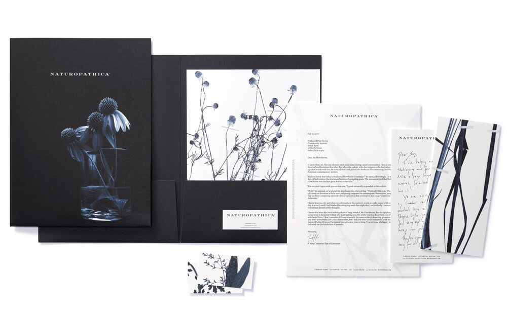 Dark blue and white plant-themed folders, letterhead, notecards, business cards