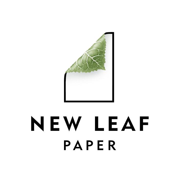 New Leaf Paper logo with folded leaf paper corner