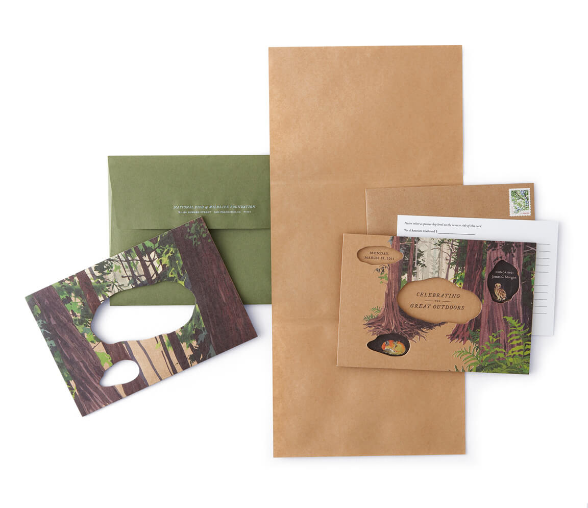 Forest-themed diecut cardboard invitation with olive-green envelope