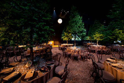 Outdoor dinner tables with pine tree center pieces and moon