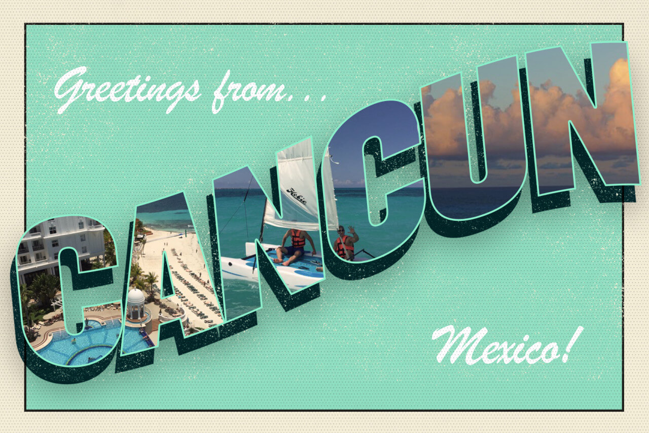 Greetings from Cancun Mexico light green postcard