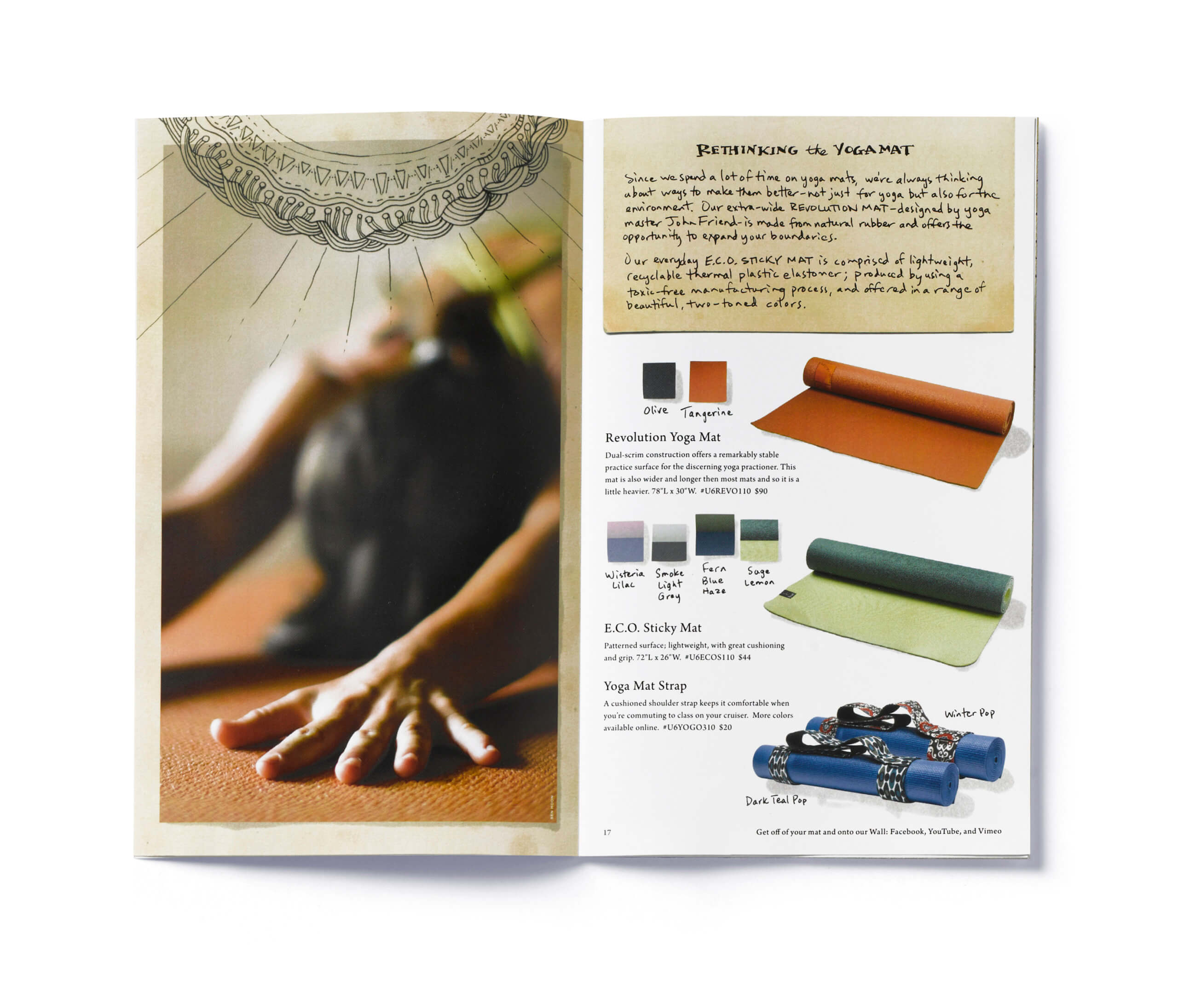 Open catalog showing yoga pose and colorful yoga mats