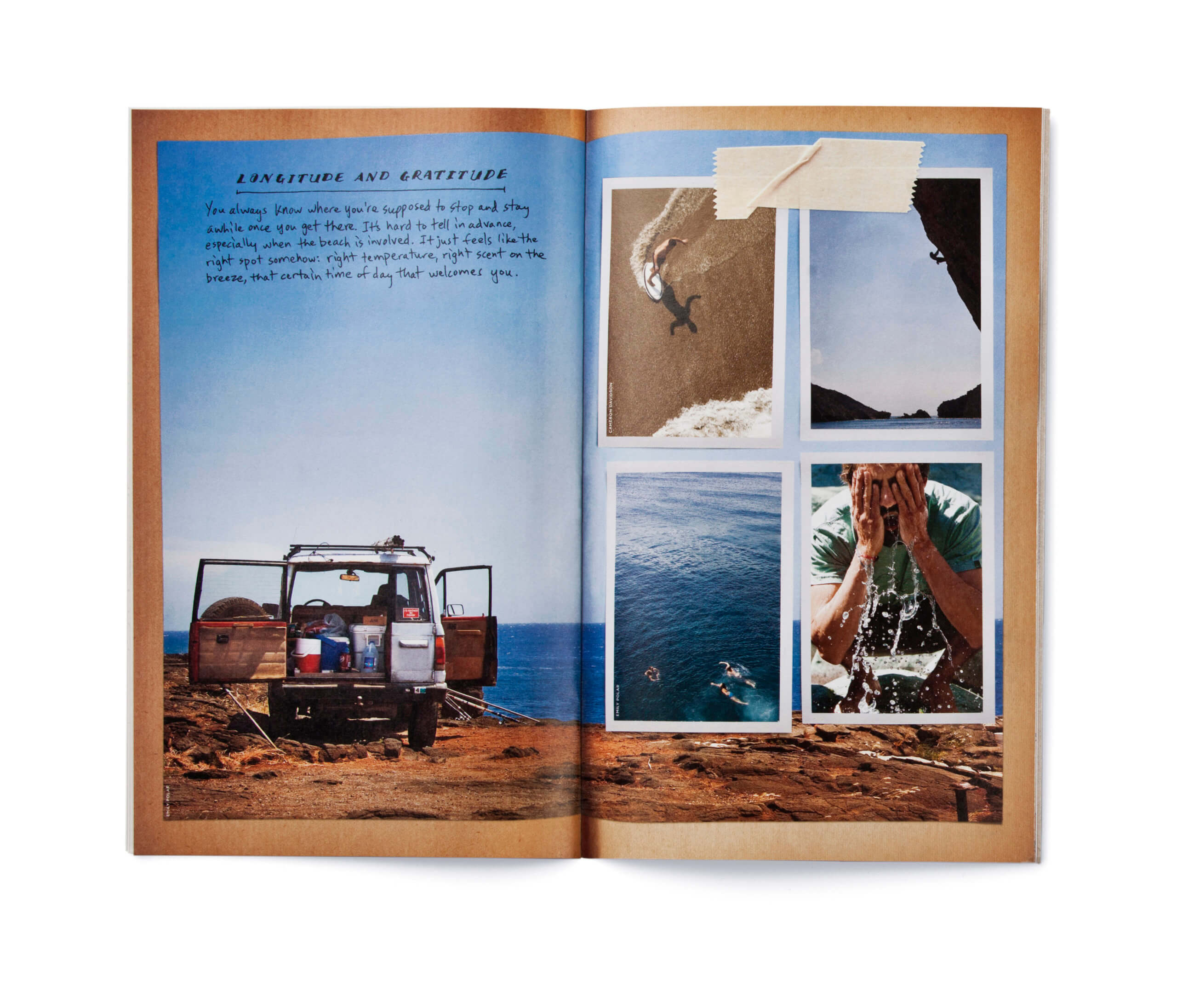 Open catalog showing back of jeep and outdoor activities