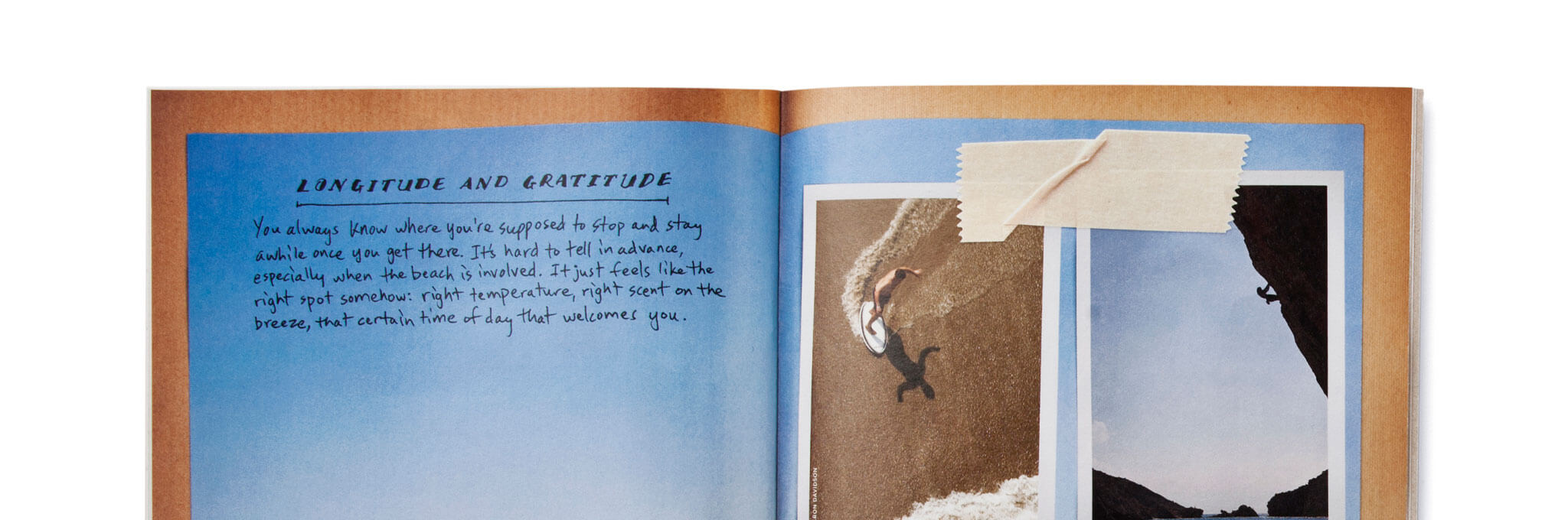 Top half of open catalog showing copy, skimboarding, climbing