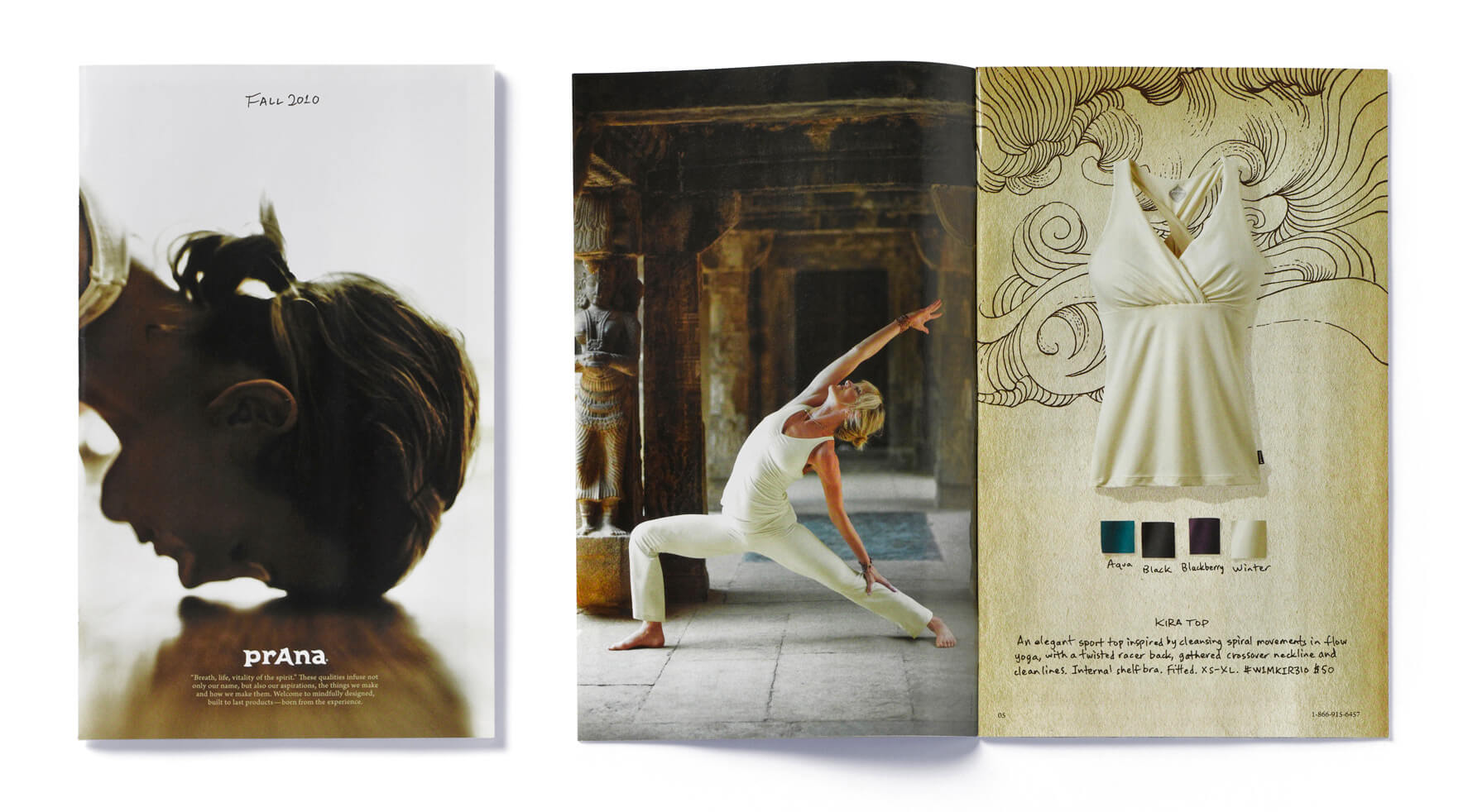 Prana catalog cover and open spread with yogi and white sleeveless top