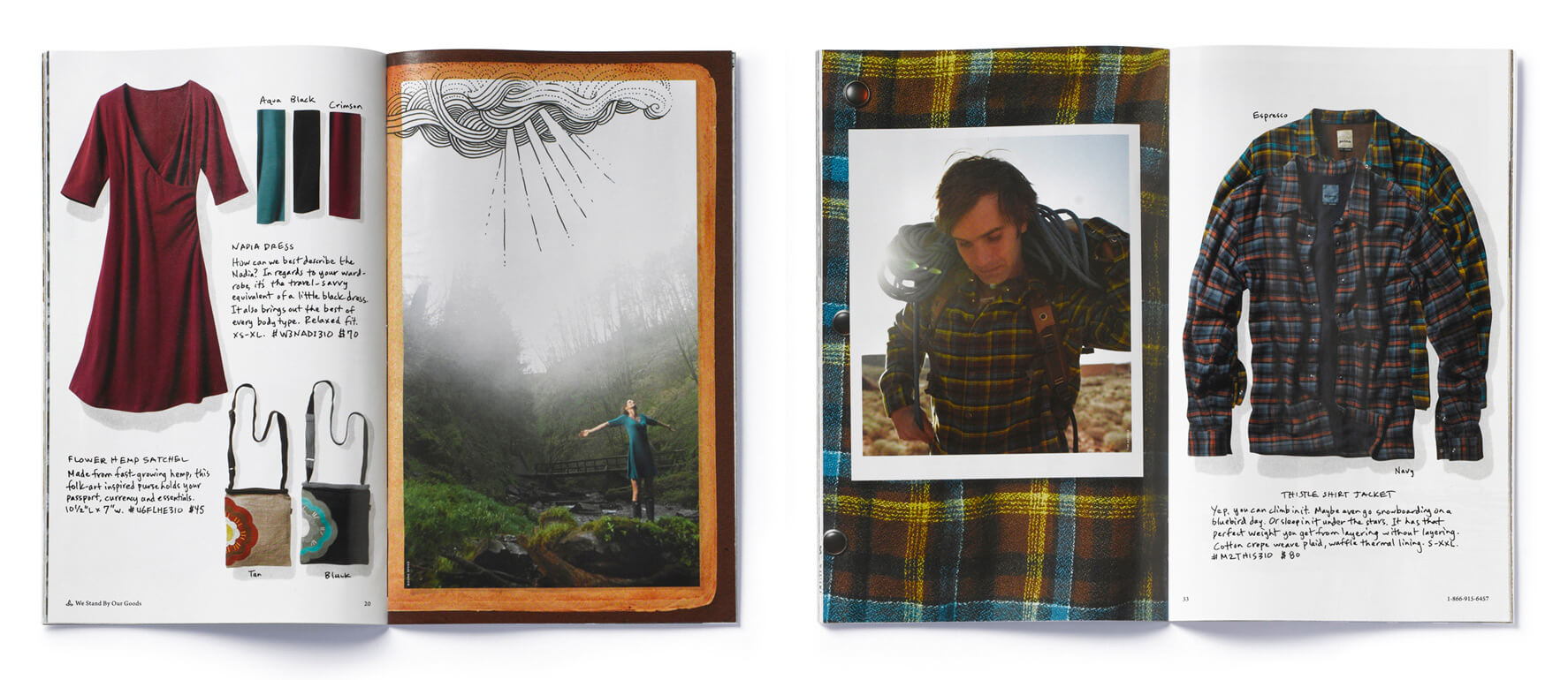 2 open catalogs showing woman in dress and man with plaid shirt