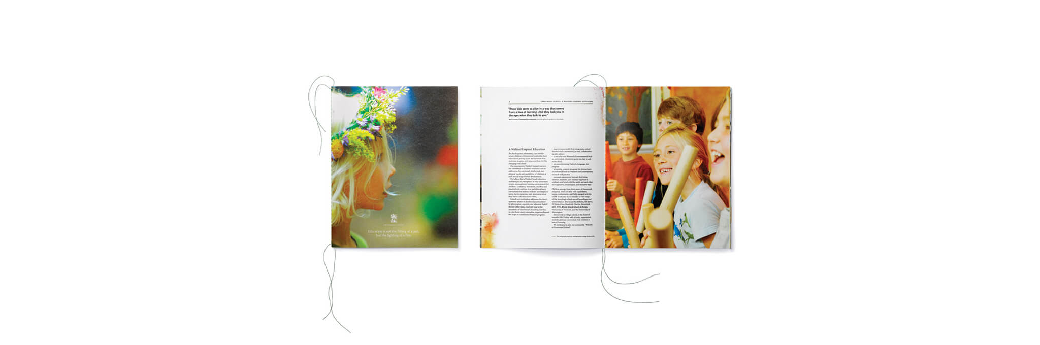 String-bound brochure cover and open interior spread showing children and text