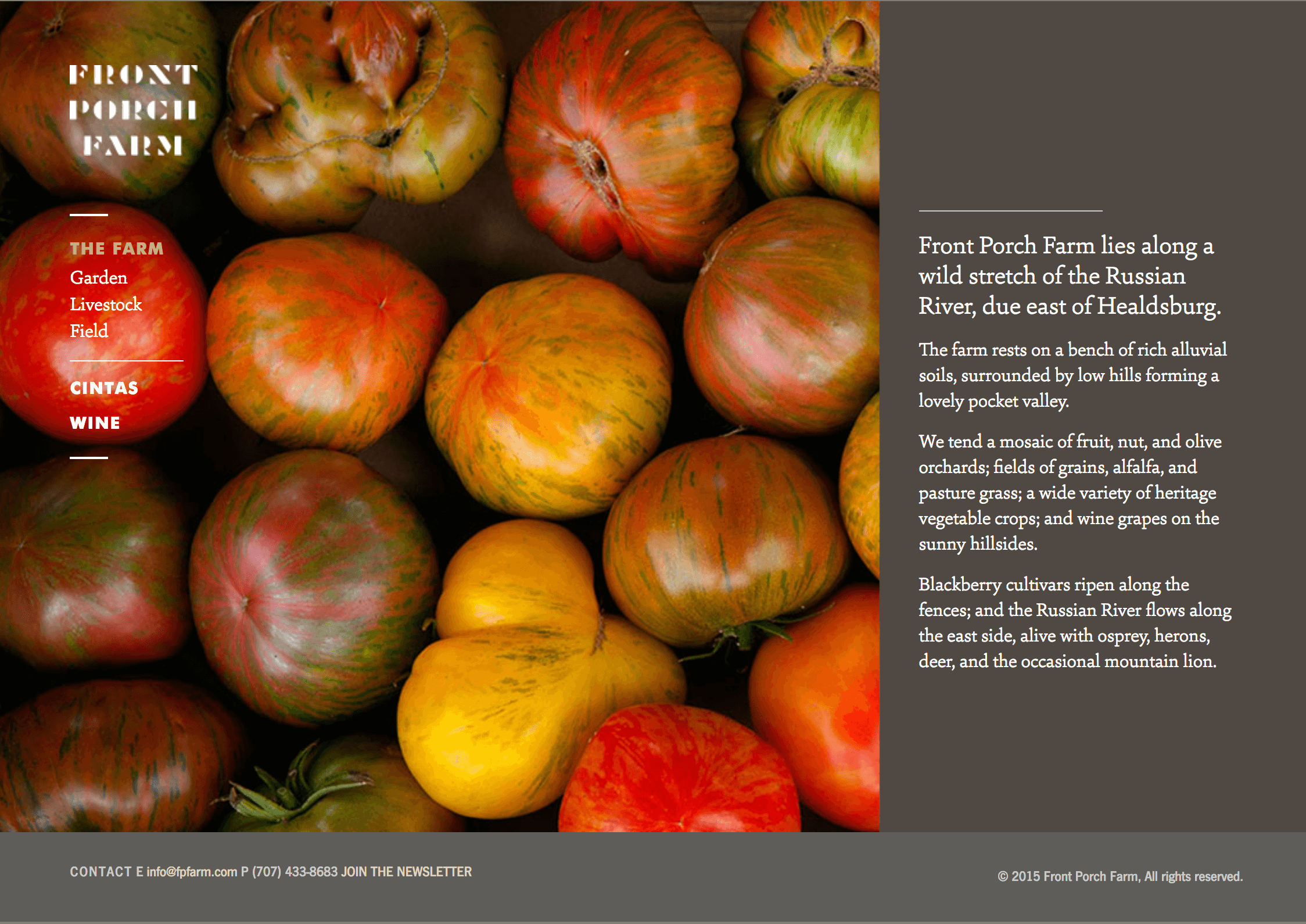 Front Porch Farm webpage featuring colorful tomatoes and text