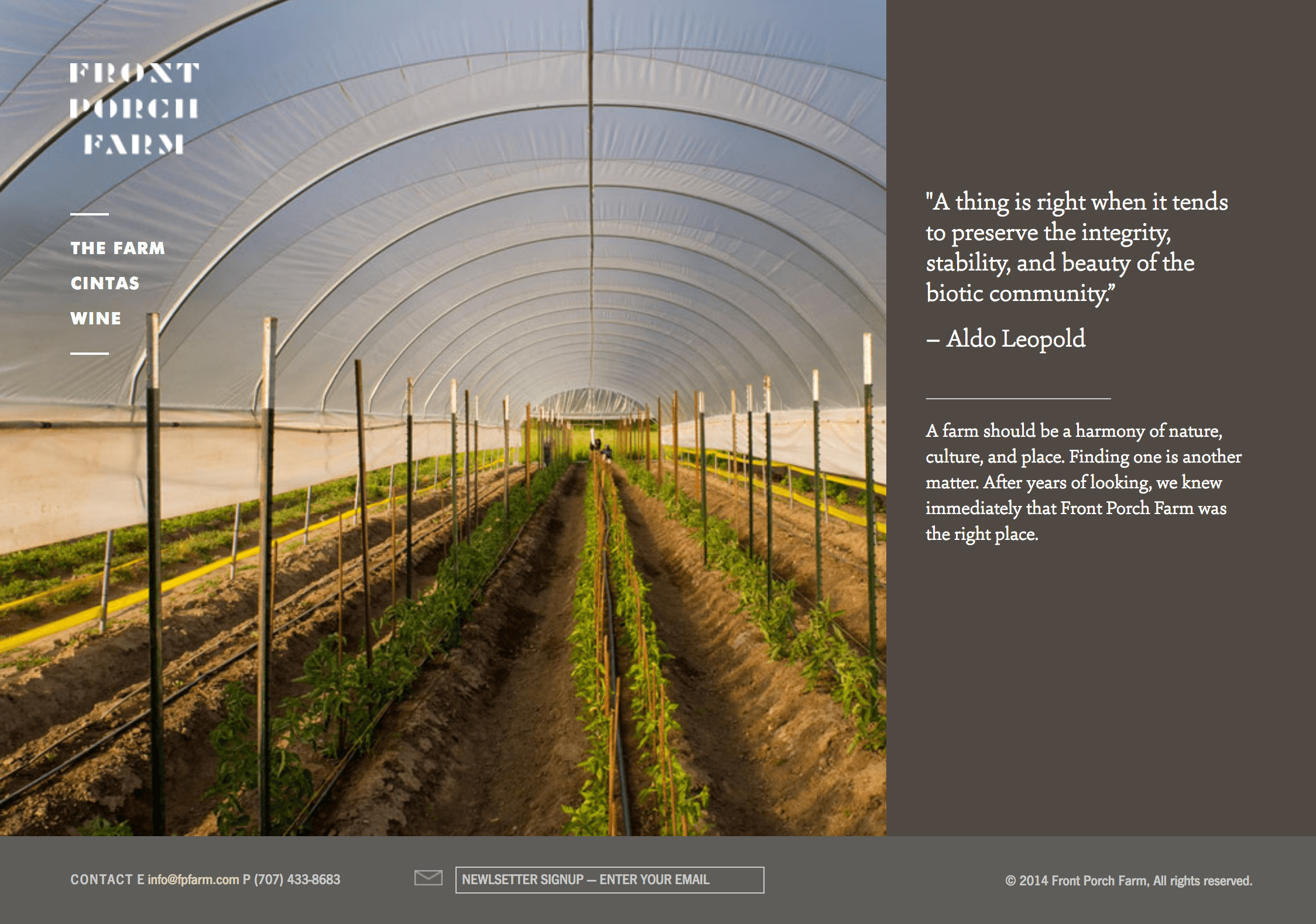 Front Porch Farm webpage featuring greenhouse crops and text
