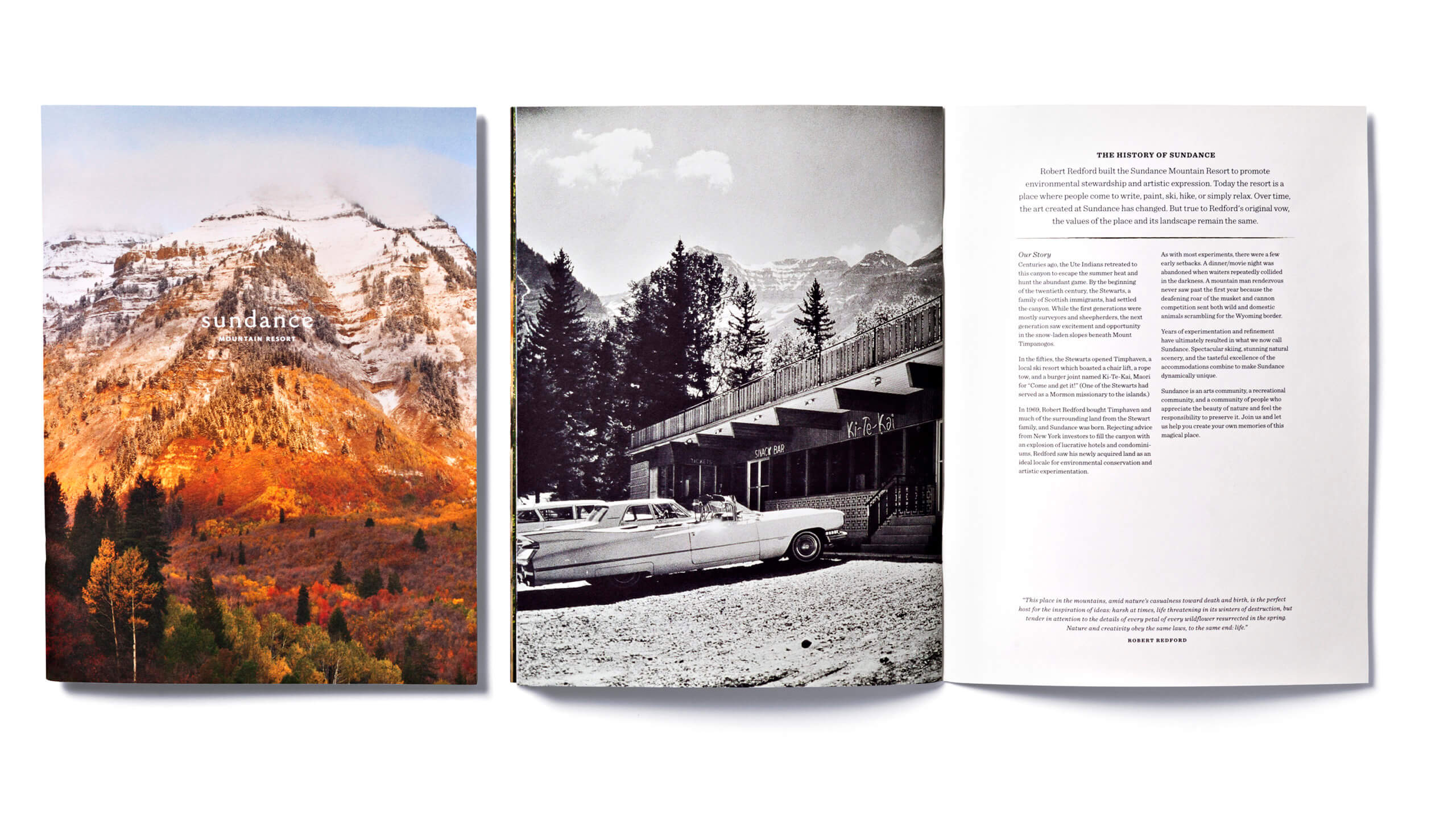 Sundance brochure cover showing mountain and open spread featuring black and white photo of car